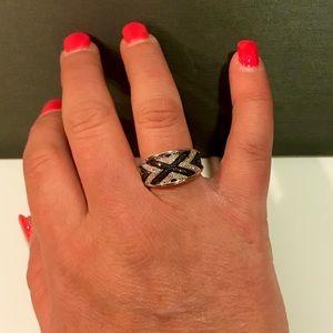 Jewelry - NWOT .42ctw Genuine blue & white diamond 925 ring